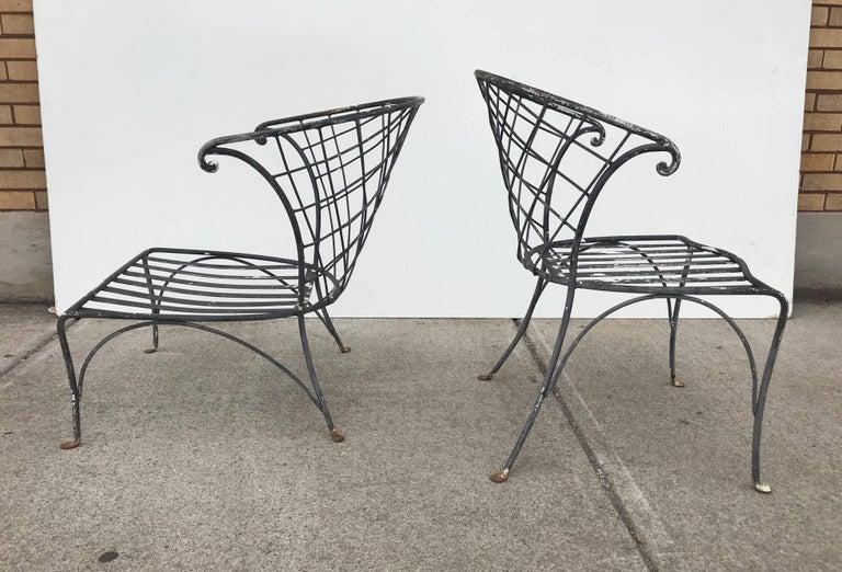 20th Century Elegant Pair of Salterini Wrought Iron Outdoor Patio Garden Chairs For Sale