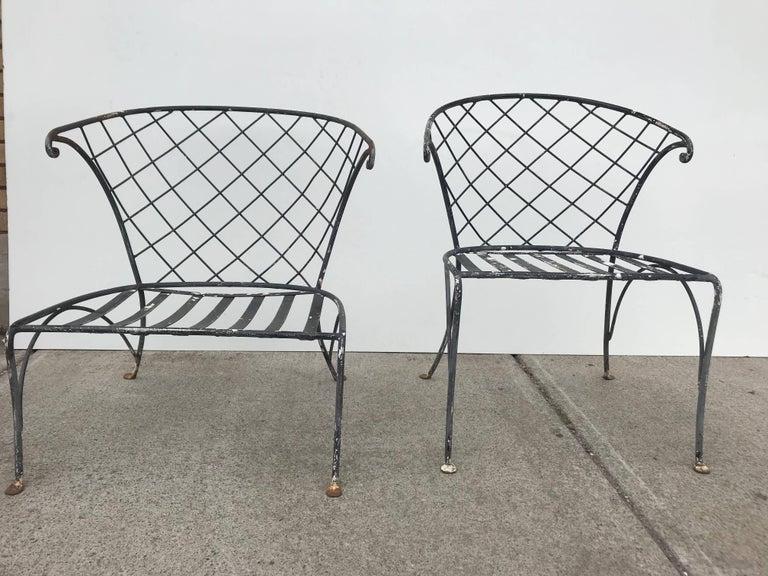 Elegant Pair of Salterini Wrought Iron Outdoor Patio Garden Chairs For Sale 3