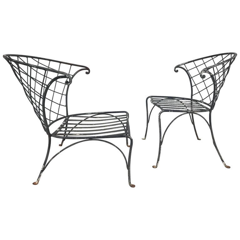 Elegant Pair of Salterini Wrought Iron Outdoor Patio Garden Chairs For Sale