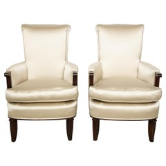 Elegant Pair of Satin and Walnut Armchairs by Jules Leleu