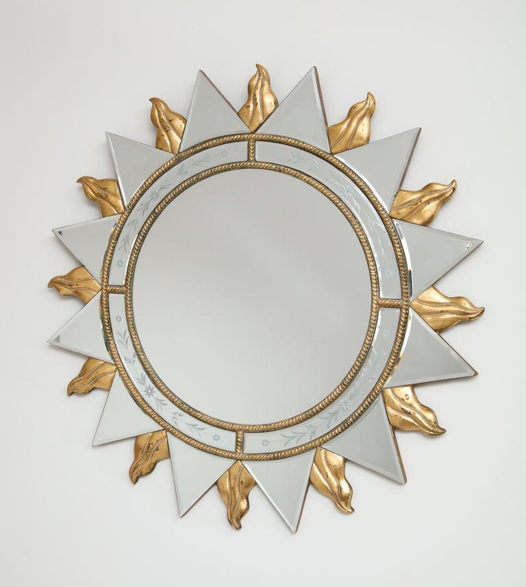 Elegant Pair of Sunburst Mirrors For Sale 5