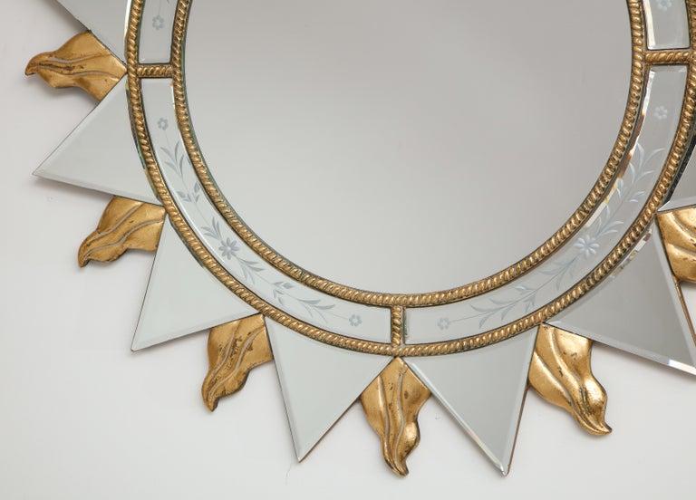 Mid-20th Century Elegant Pair of Sunburst Mirrors For Sale