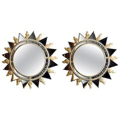 Elegant Pair of Sunburst Mirrors