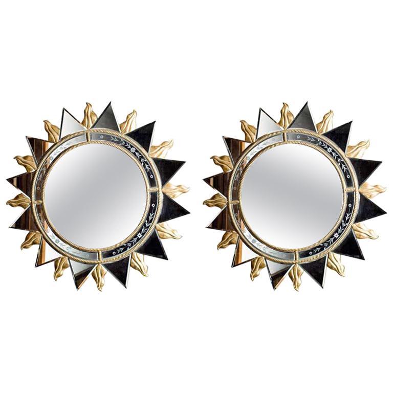 Elegant Pair of Sunburst Mirrors For Sale