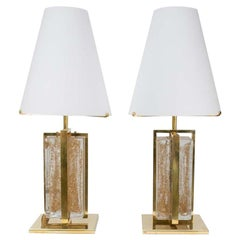 Elegant Pair of Table Lamps Italian Design 2000 Murano Glass Clear/Gold, Brass