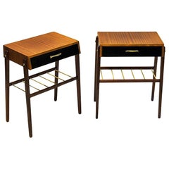 Elegant Pair of Teak and Brass Night and Side Tables, Sweden, 1960s