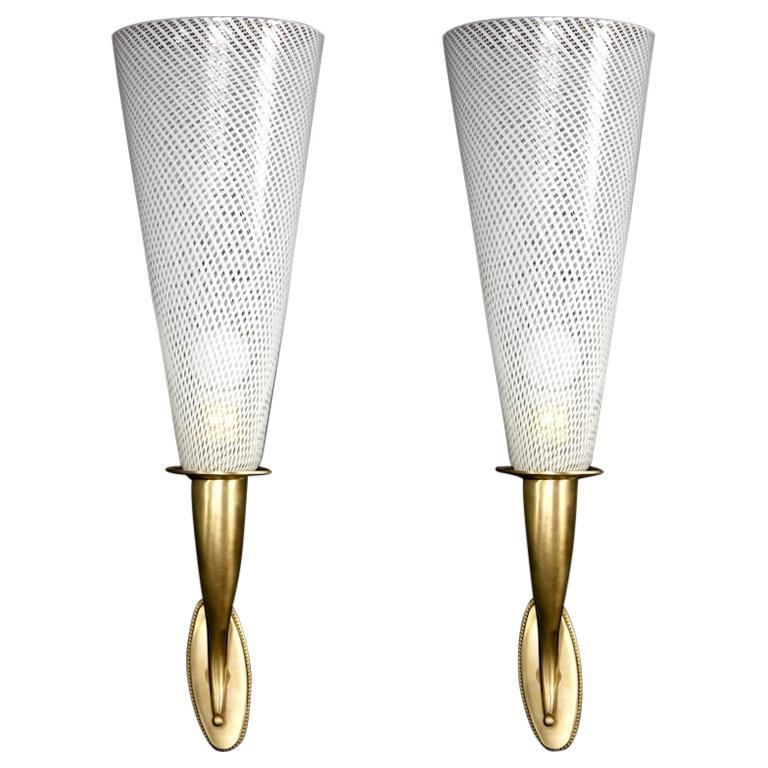 Elegant Pair of Venini Reticello Sconces or Wall Lights Carlo Scarpa Style, 1940