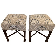 Elegant Pair of Vintage Benches with Carved Mahogany Bases and Crewel Upholstery