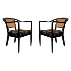 Elegant Pair of Vintage Cane Back Armchairs