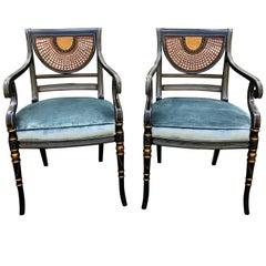 Elegant Pair of Vintage Regency Armchairs