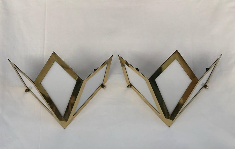 Elegant Pair of Wall Lights Signed Gabriella Crespi For Sale 5
