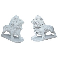 Elegant Pair of White Marble Lion Statues