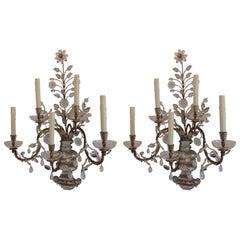 Elegant Pair of Rare Baguès Gilt Rock Crystal Five-Arm Large Jansen Sconces
