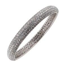 Elegant Pave Diamond White Gold Bangle Bracelet