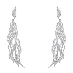 Elegant Paved Diamond Earrings 3.28 Carat 18 Karat Gold Diamond Crusted Earrings