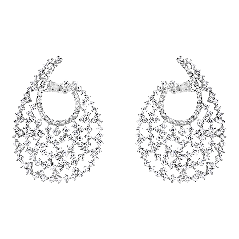 Elegant Paved Earrings 9.72 Carat 18 Karat Gold Diamond Crusted Earrings