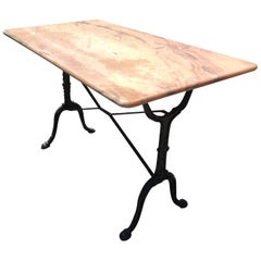 Elegant Pink Marble and Iron French Bistro Table