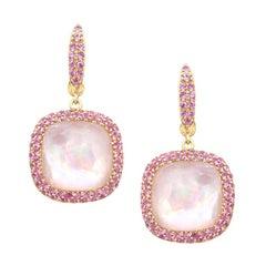 Elegant Pink Sapphire Mother of Pearl Rock Crystal 18K Gold Diamond Earrings
