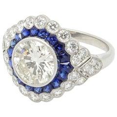 Elegant Platinum 1.92 Carat Sapphire and Diamond Ring