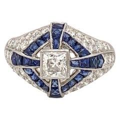 Elegant Platinum 2.60 Carat Sapphire Diamond Ring