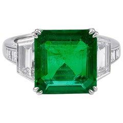 Elegant Platinum 5.21 Carat Emerald and Diamond Ring