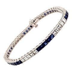 Elegant Platinum 5.44 Carat Diamond and Sapphire Bracelet