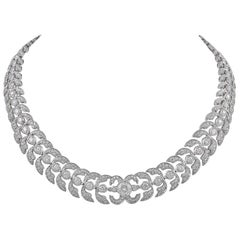 Elegant Platinum and 16.10 Carat Gorgeous Diamond Necklace