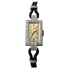 Elegant Platinum Art Deco Wristwatch with Diamonds, Signed Gübelin