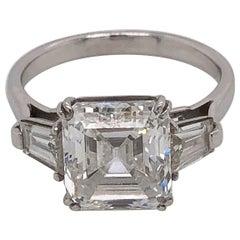 Elegant Platinum Emerald Cut Diamond Ring 3.46 Carat D-VS1 GIA Certified