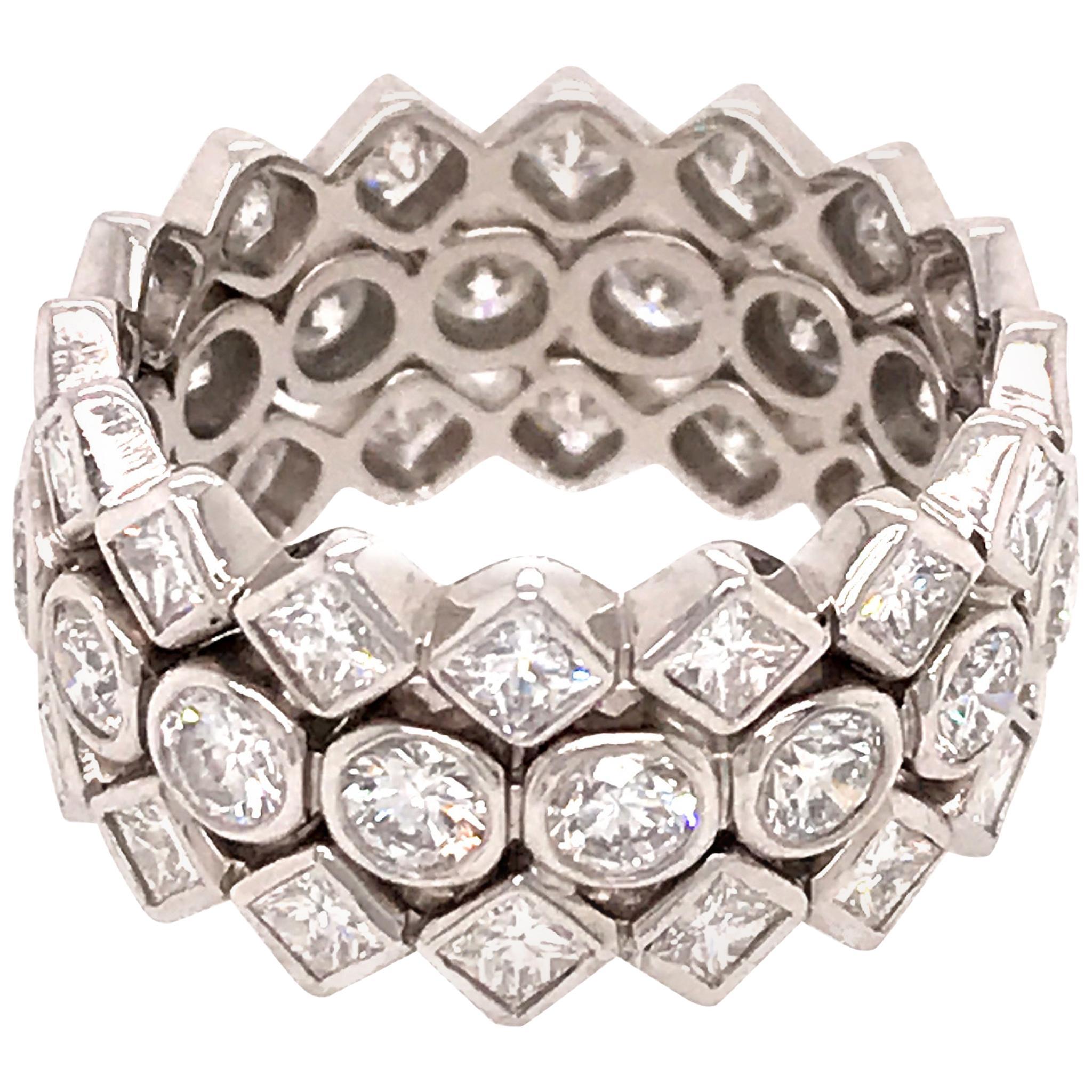 Elegant Platinum Wide Diamond Band Ring