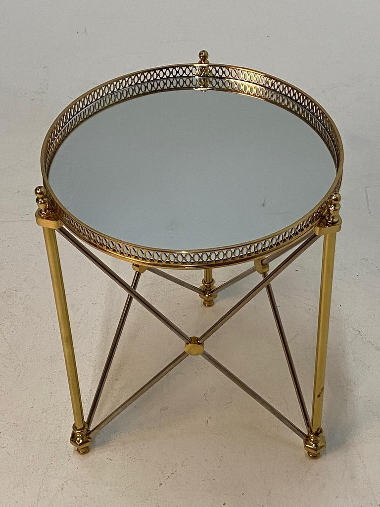 French Elegant Polished Steel & Brass Neoclassical Round Martini Table For Sale