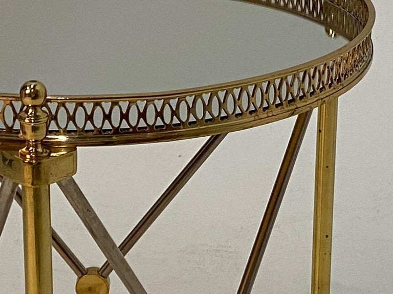 Mid-20th Century Elegant Polished Steel & Brass Neoclassical Round Martini Table For Sale