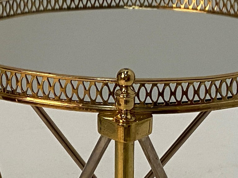 Elegant Polished Steel & Brass Neoclassical Round Martini Table For Sale 1
