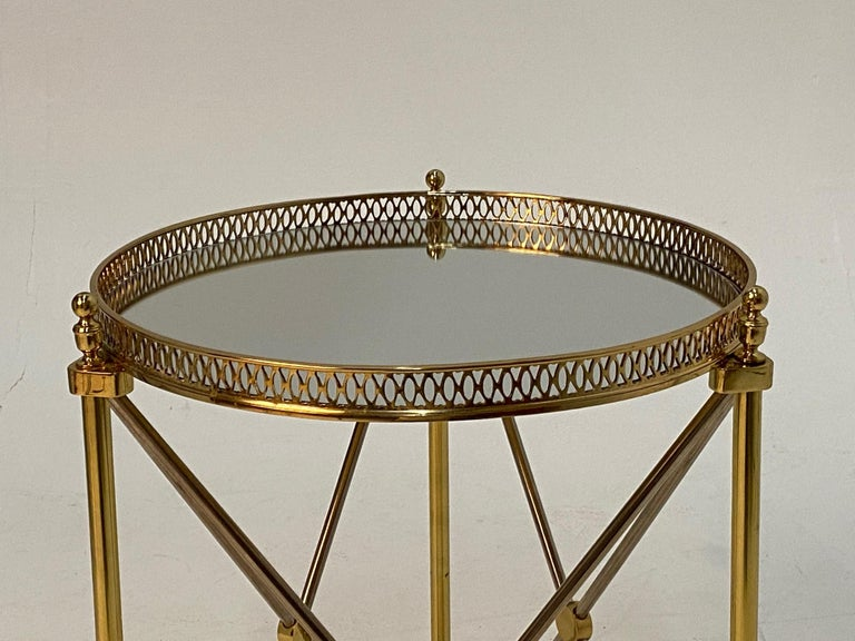 Elegant Polished Steel & Brass Neoclassical Round Martini Table For Sale 3