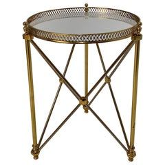 Elegant Polished Steel & Brass Neoclassical Round Martini Table