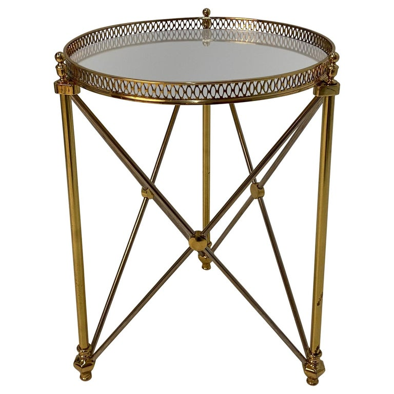 Elegant Polished Steel & Brass Neoclassical Round Martini Table For Sale