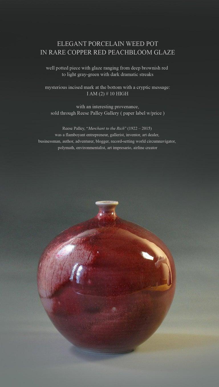 Elegant Porcelain Weed Pot in Rare Copper Red Peachbloom Glaze For Sale 4