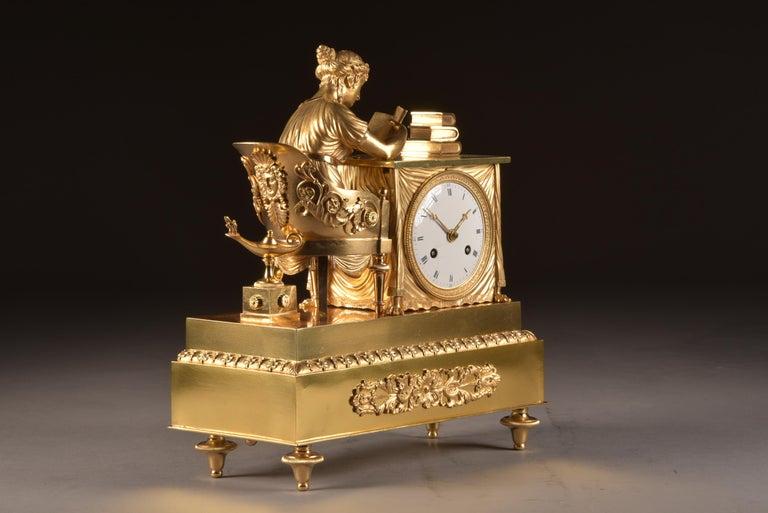 French Elegant and Prestigious Fire-Gilt Empire Library Pendulum, circa 1800 For Sale