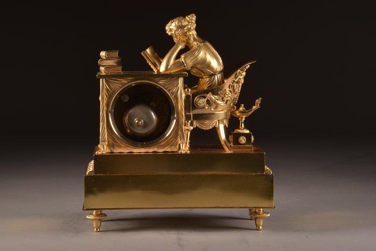 Elegant and Prestigious Fire-Gilt Empire Library Pendulum, circa 1800 In Good Condition For Sale In Ulestraten, Limburg