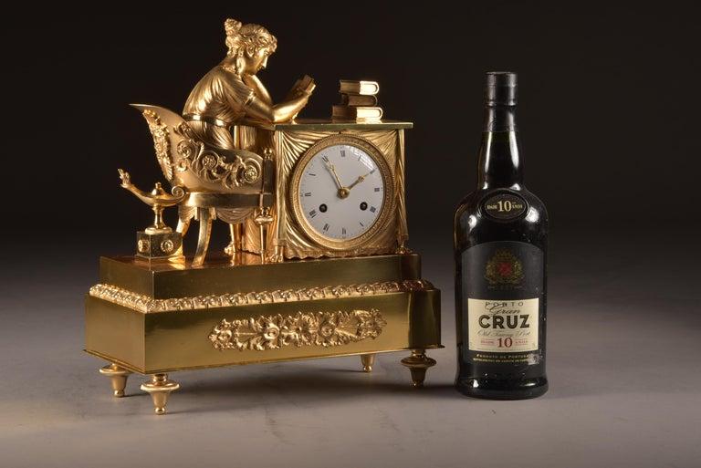 19th Century Elegant and Prestigious Fire-Gilt Empire Library Pendulum, circa 1800 For Sale
