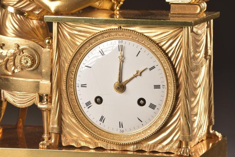 Bronze Elegant and Prestigious Fire-Gilt Empire Library Pendulum, circa 1800 For Sale