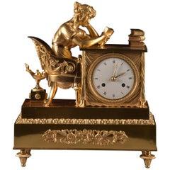 Elegant and Prestigious Fire-Gilt Empire Library Pendulum, circa 1800
