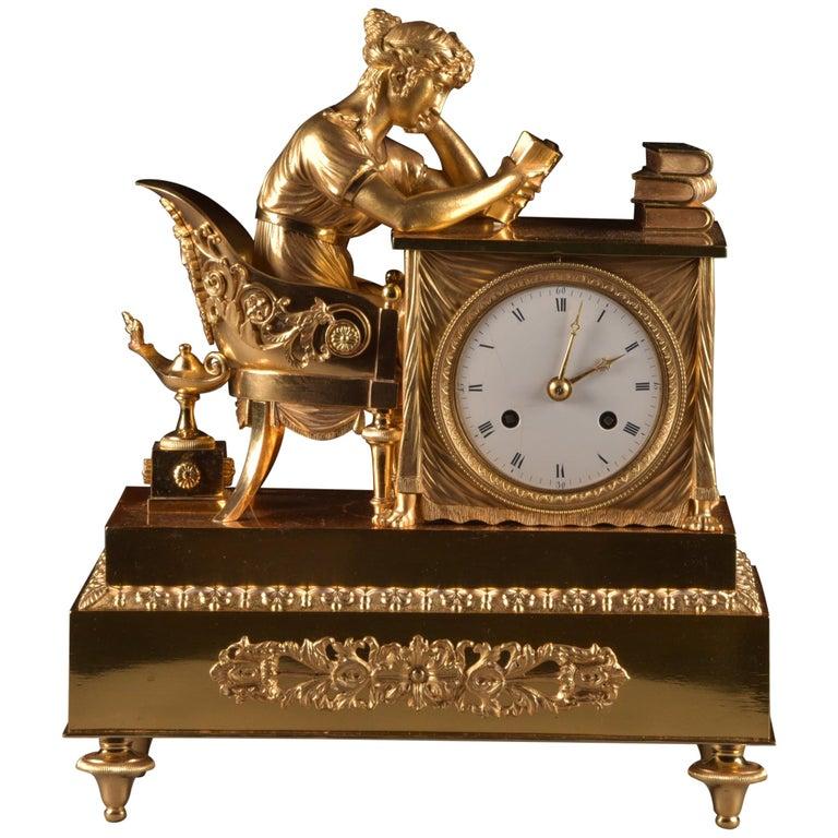 Elegant and Prestigious Fire-Gilt Empire Library Pendulum, circa 1800 For Sale