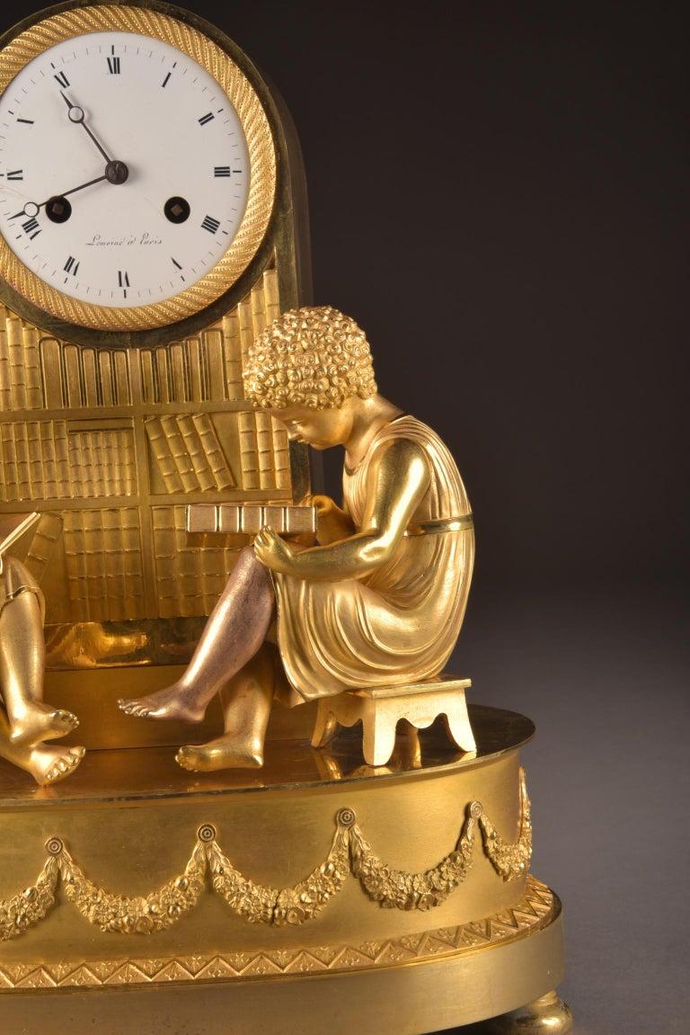 French Elegant & Prestigious Fire-Gilt Empire Library Pendulum, Claude Lemoine, Ca 1800 For Sale