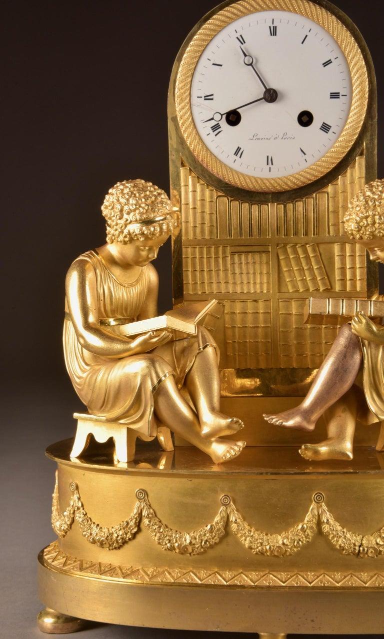 Elegant & Prestigious Fire-Gilt Empire Library Pendulum, Claude Lemoine, Ca 1800 In Good Condition For Sale In Ulestraten, Limburg