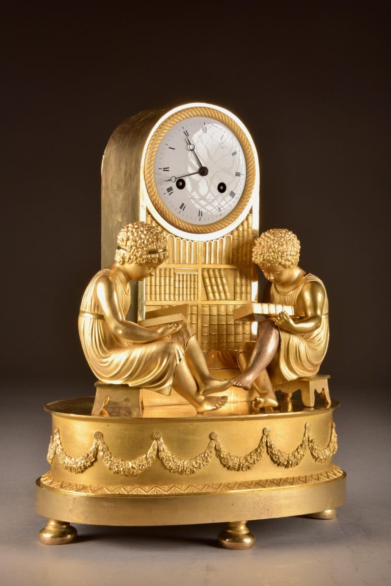 Bronze Elegant & Prestigious Fire-Gilt Empire Library Pendulum, Claude Lemoine, Ca 1800 For Sale