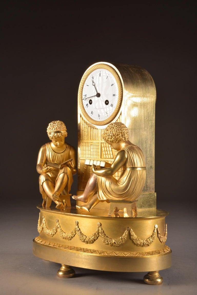 Elegant & Prestigious Fire-Gilt Empire Library Pendulum, Claude Lemoine, Ca 1800 For Sale 1