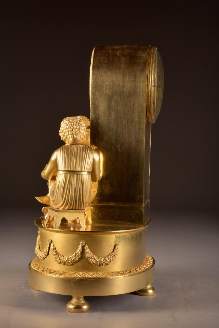 Elegant & Prestigious Fire-Gilt Empire Library Pendulum, Claude Lemoine, Ca 1800 For Sale 2