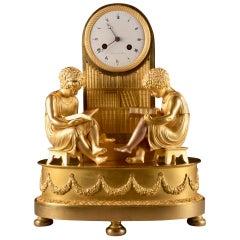 Elegant & Prestigious Fire-Gilt Empire Library Pendulum, Claude Lemoine, Ca 1800