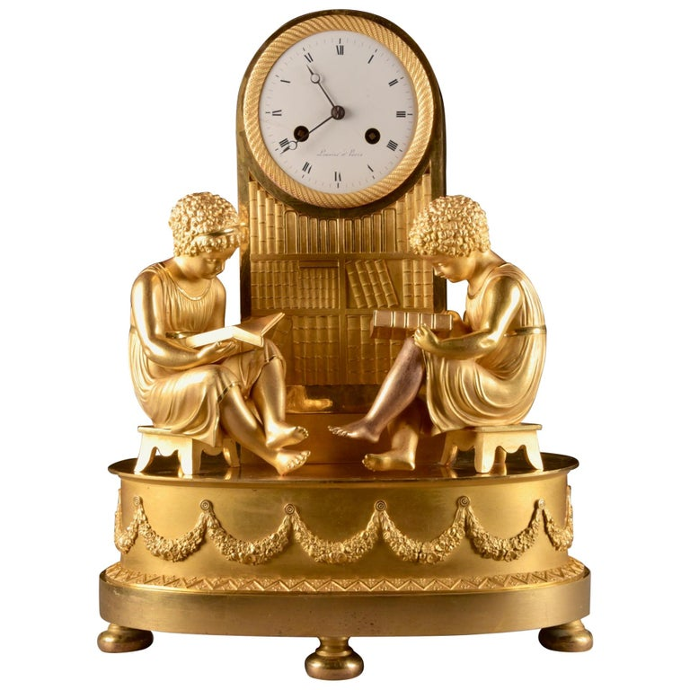 Elegant & Prestigious Fire-Gilt Empire Library Pendulum, Claude Lemoine, Ca 1800 For Sale
